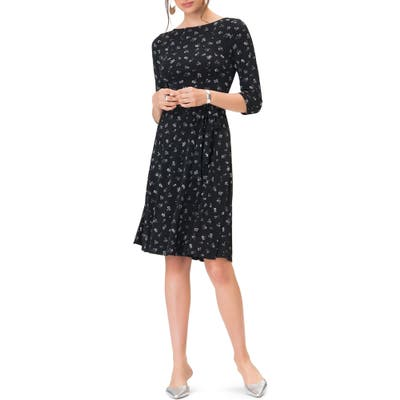 Leota Belted Print Jersey A-Line Dress, Black