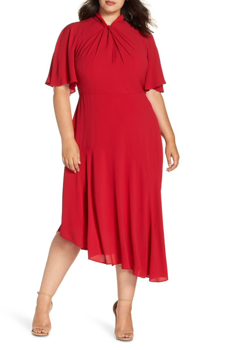 MAGGY LONDON Asymmetrical Midi Dress, Main, color, 640