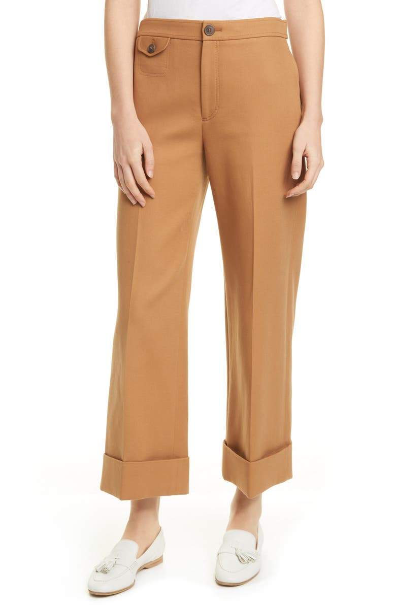 CLUB MONACO Cavalry Twill Cuffed Pants, Main, color, TOFFEE