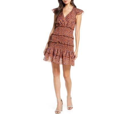 Foxiedox Luna Animal Print Tiered Ruffle Minidress, Brown