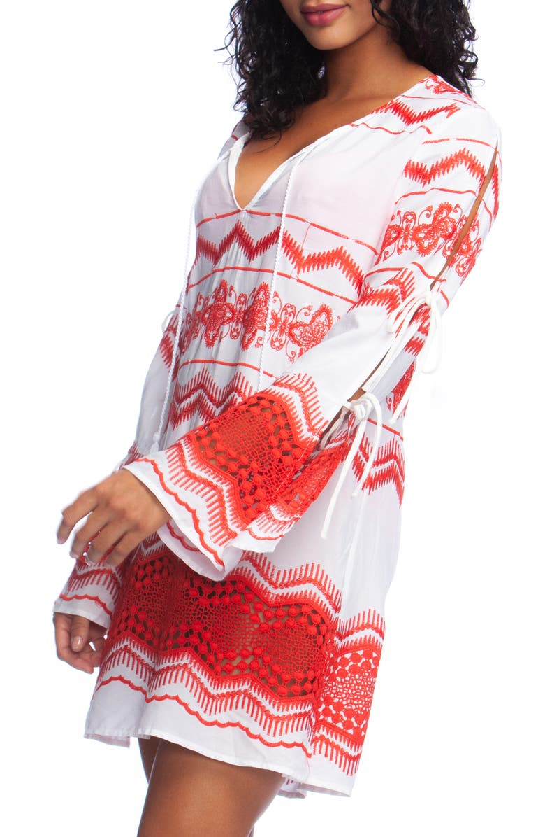 LA BLANCA Embroidered Cover-Up Tunic, Main, color, FLAME