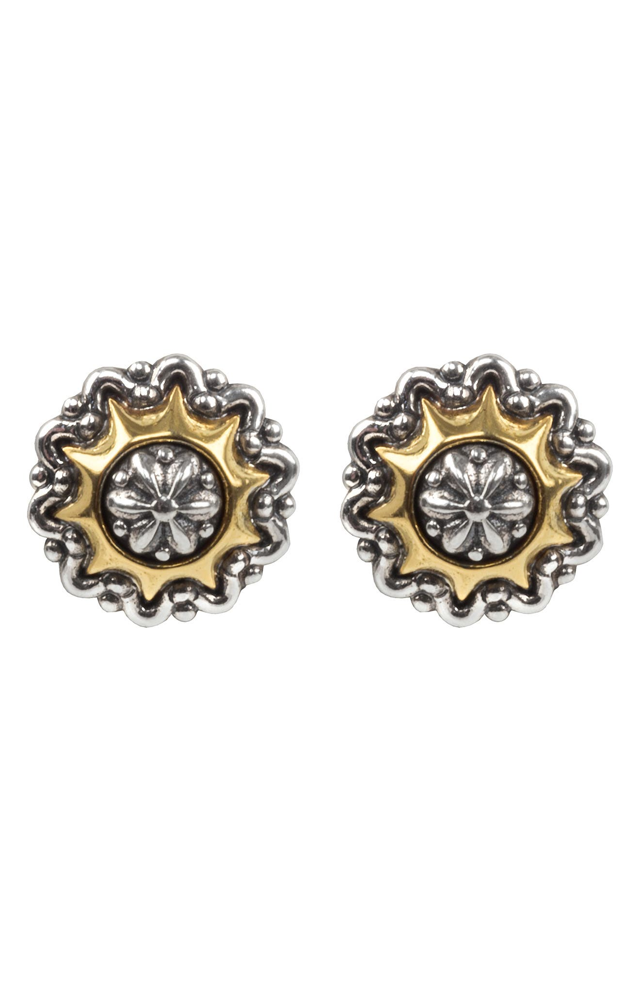 Gleaming sterling silver stud earrings are crowned with a frame of 18k gold for exceptional style. Style Name: Konstantino Astria Supernova Stud Earrings. Style Number: 6033198. Available in stores.