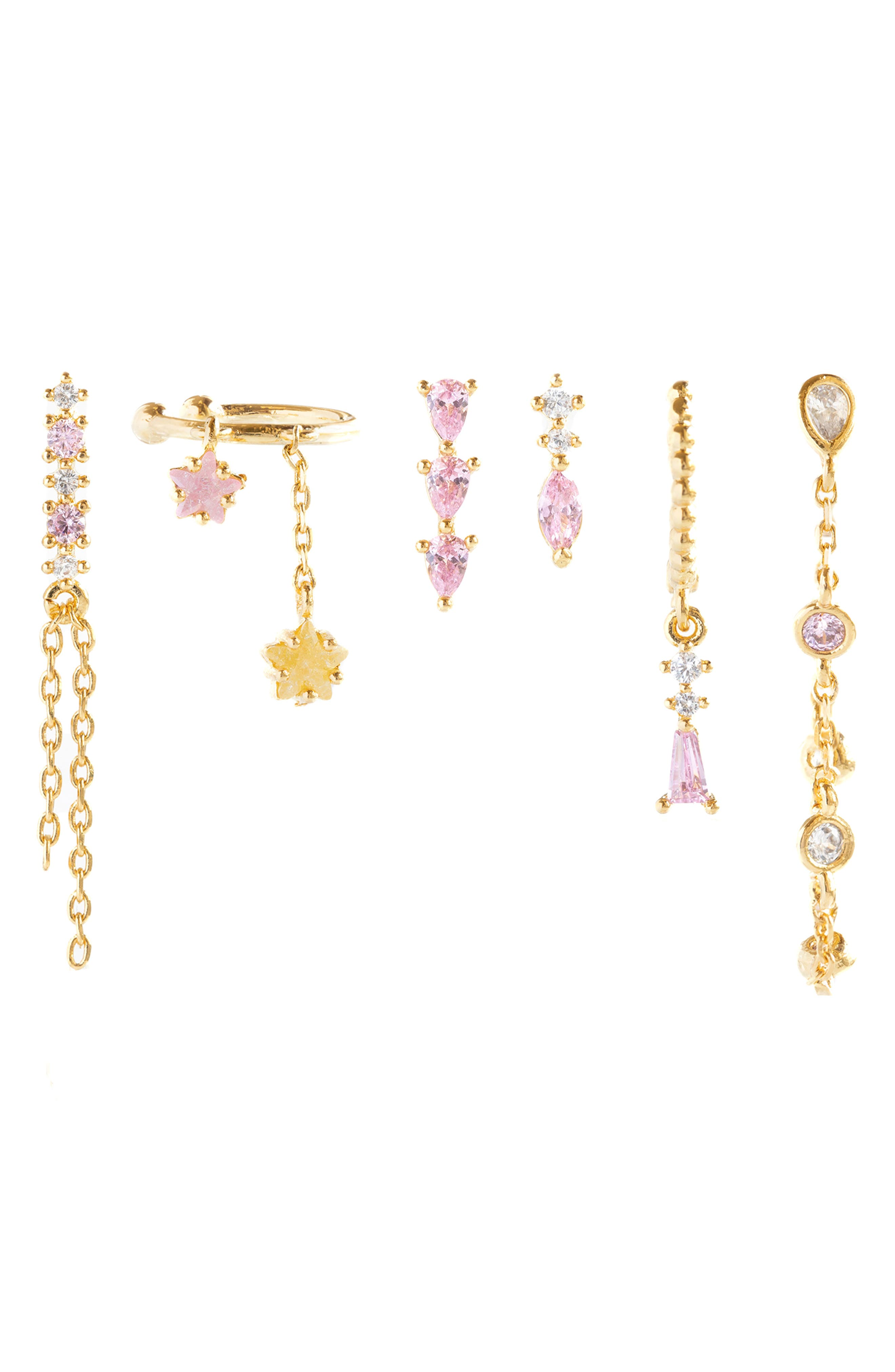 Pink Sugar Set Of 6 Mismatched Earrings