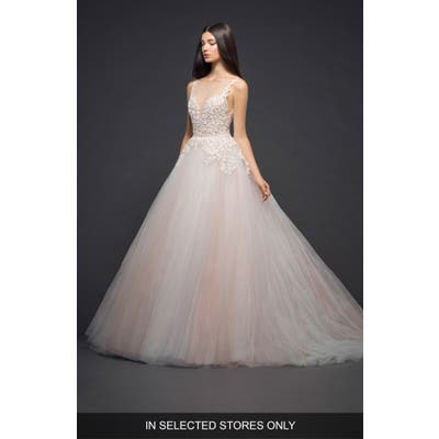 Lazaro Dimensional Embroidery Tulle Ballgown, Size IN STORE ONLY - Ivory