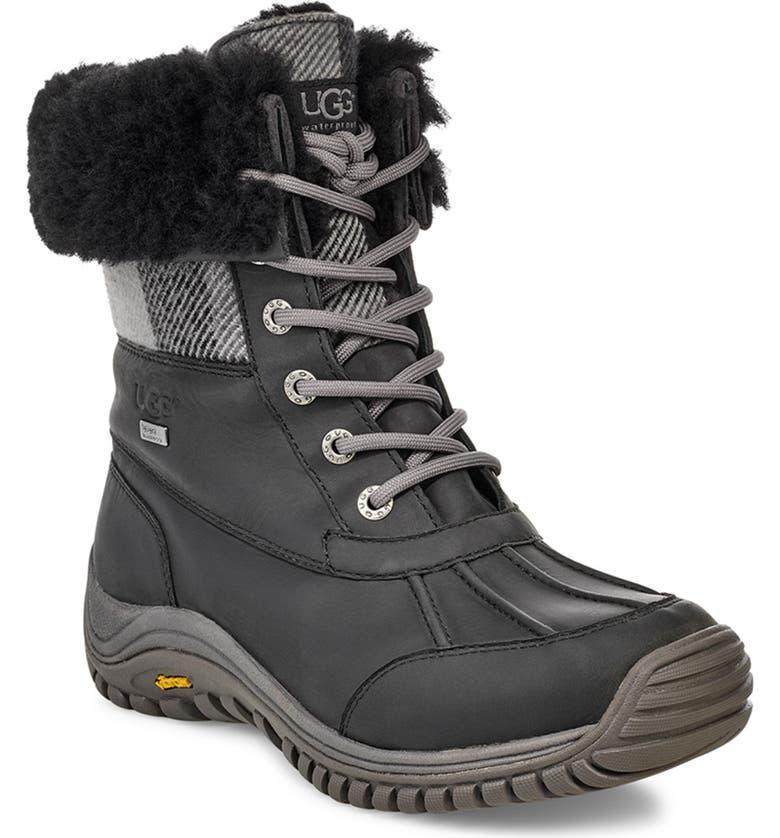 UGG Adironack Plaid Waterproof Boot II, Main, color, BLK