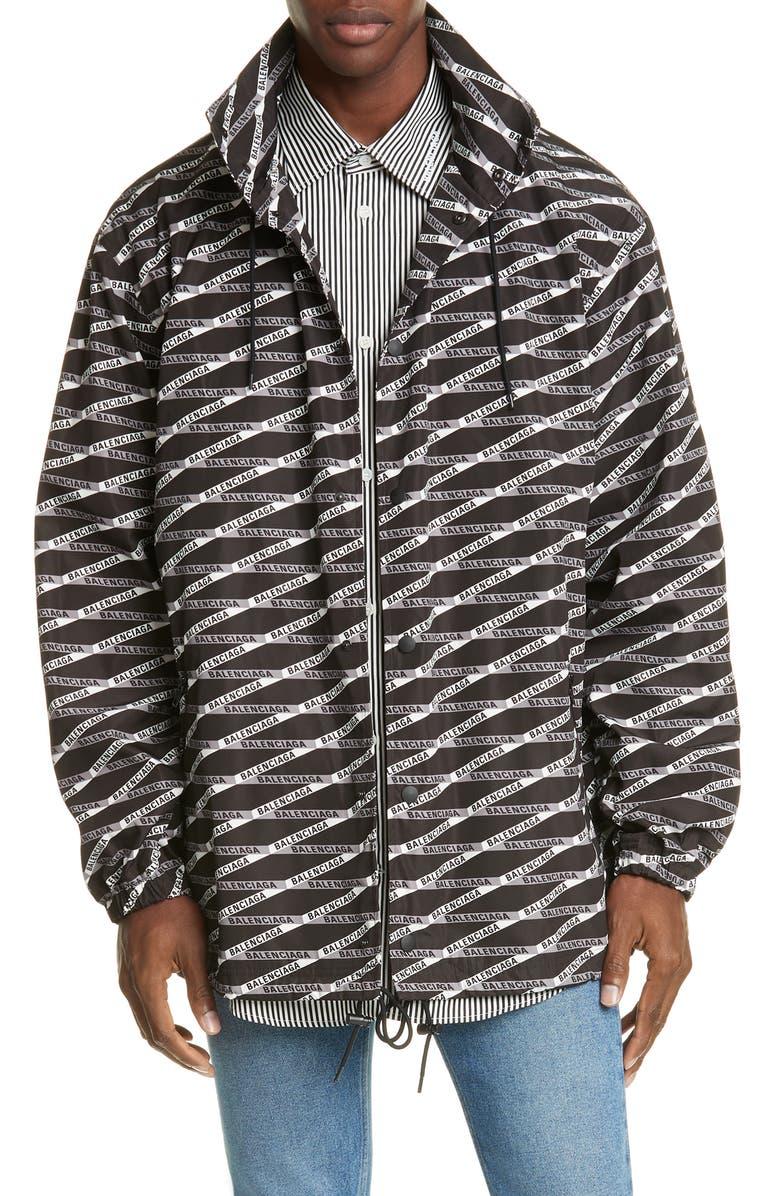 BALENCIAGA Logo Graphic Hooded Rain Jacket, Main, color, 023