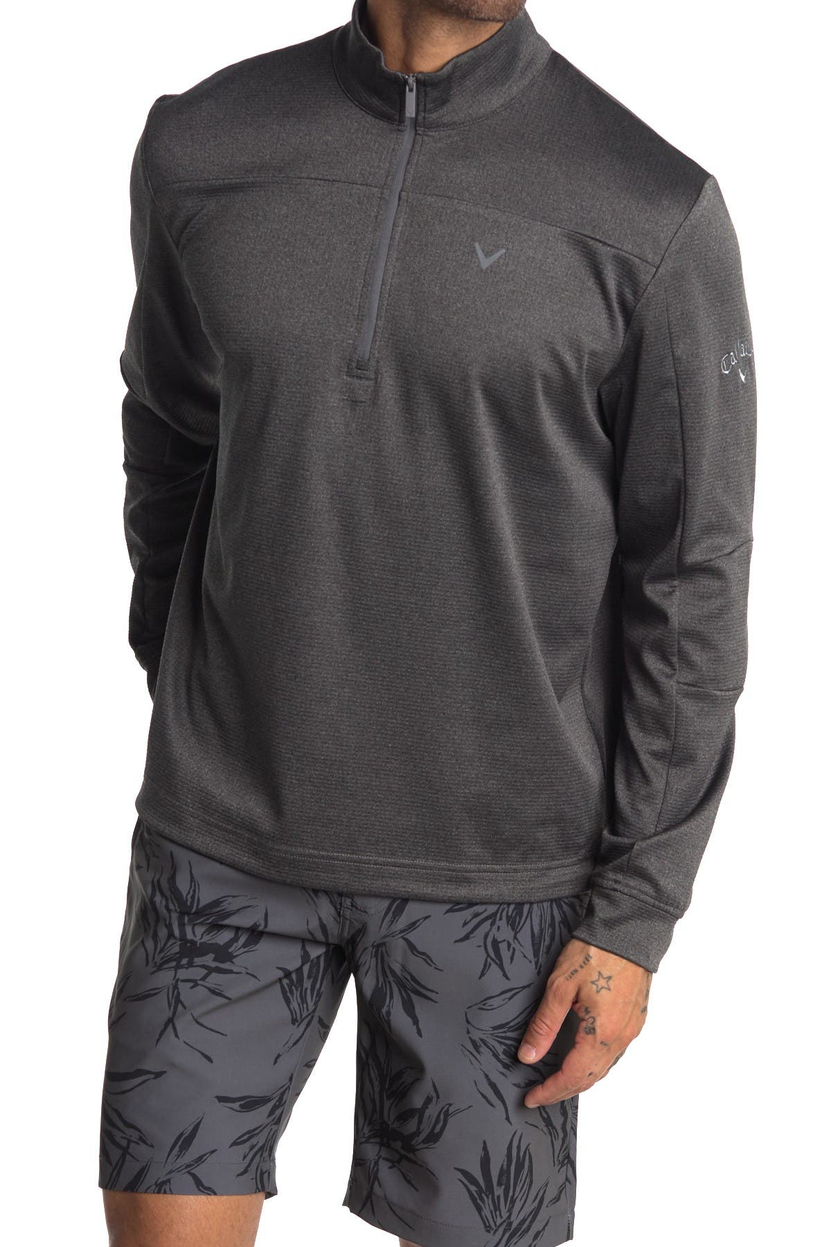 Image of CALLAWAY GOLF Quarter Zip Waffle Knit Sweater