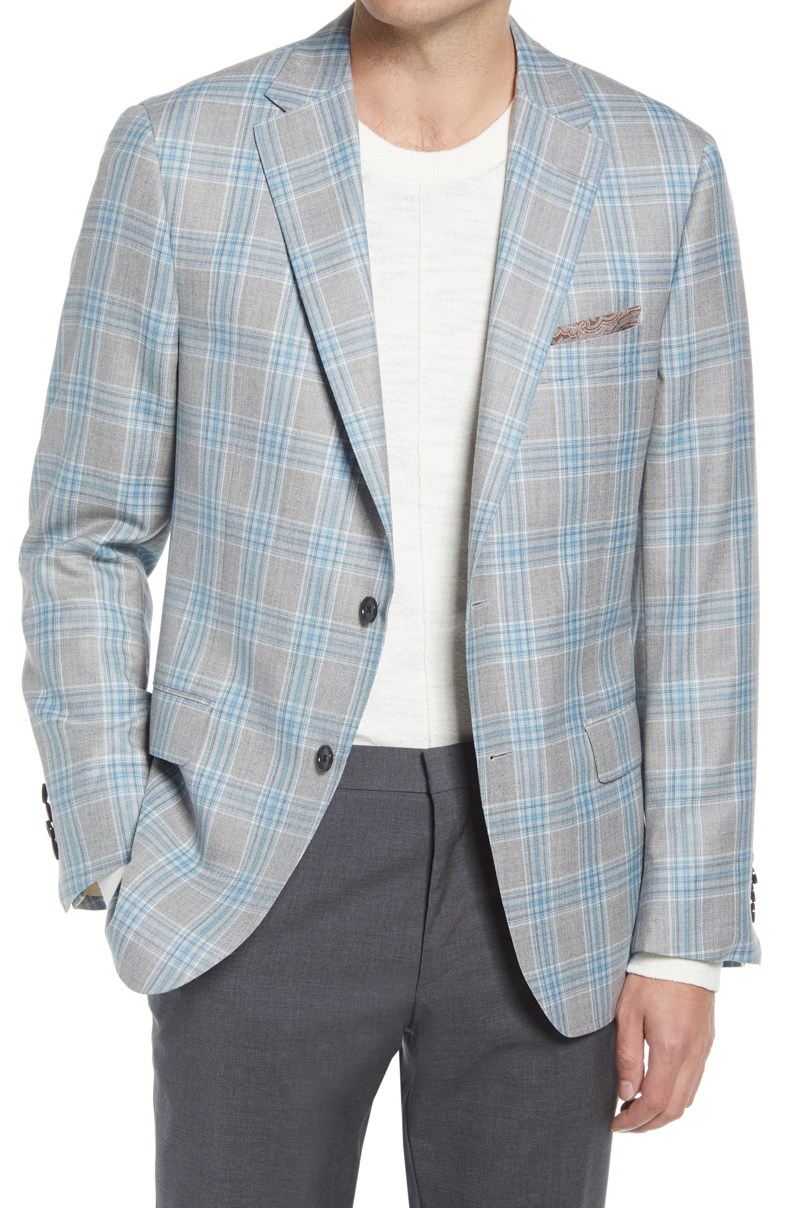 Classic Fit Plaid Wool & Silk Sport Coat