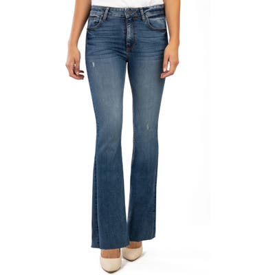 Kut From The Kloth Stella High Waist Raw Hem Flare Jeans, Blue