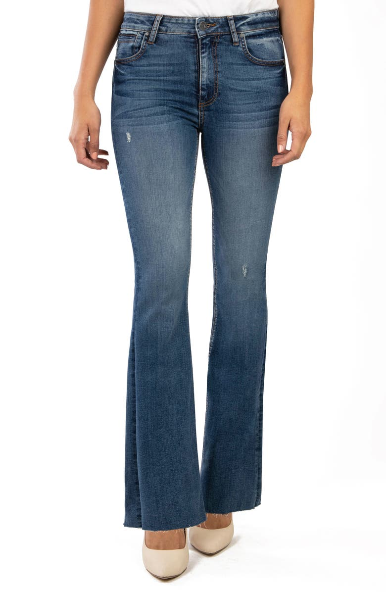 KUT FROM THE KLOTH Stella High Waist Raw Hem Flare Jeans, Main, color, INSTANTLY