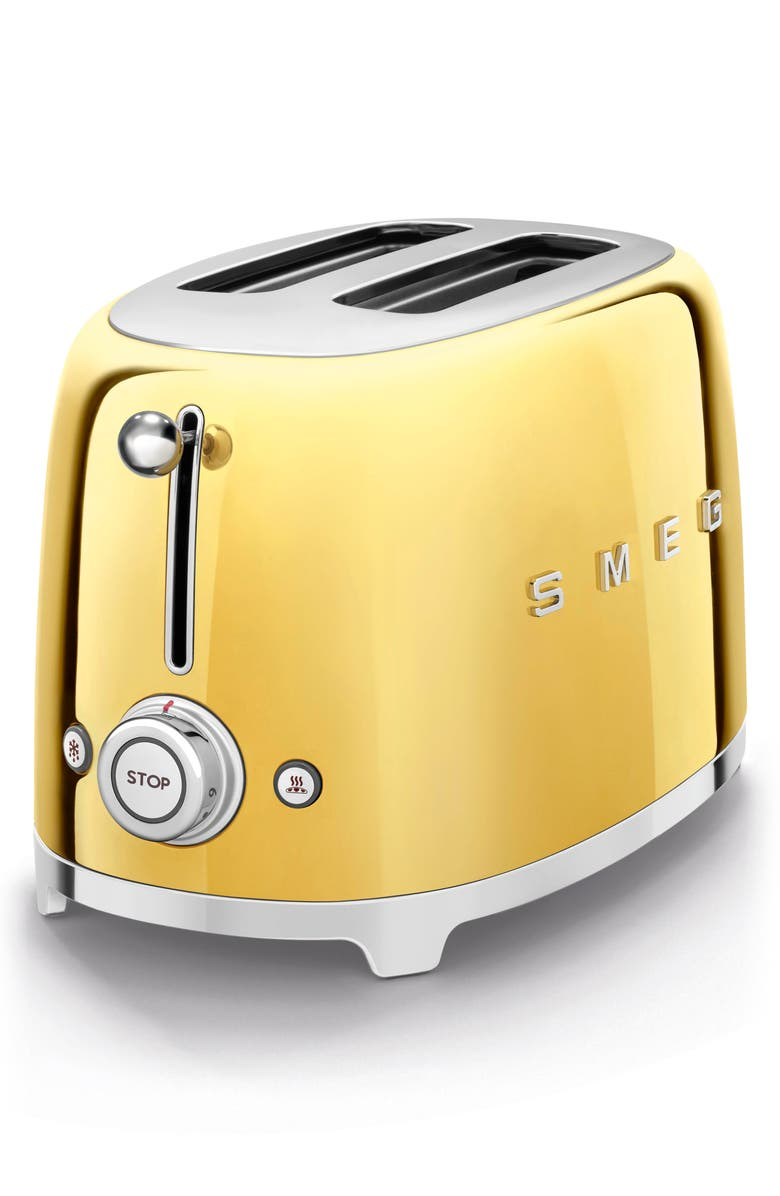 SMEG 50s Retro Style Two-Slice Toaster, Main, color, GOLD