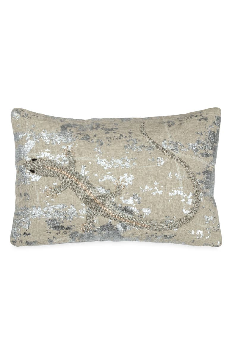 MICHAEL ARAM Lizard Embroidered Decorative Pillow, Main, color, SILVER