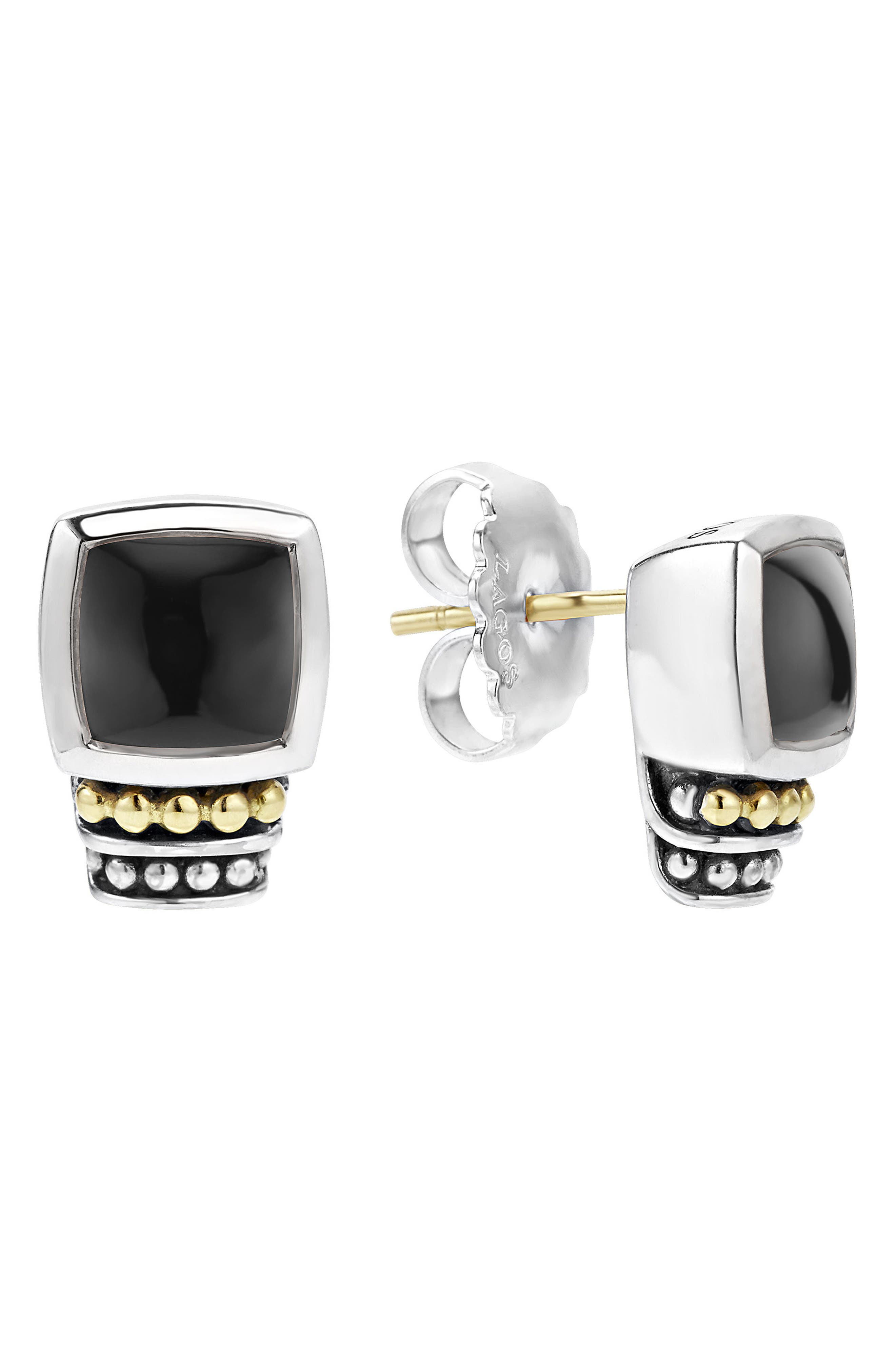 ,                             'Caviar Color' Semiprecious Stone Stud Earrings,                             Main thumbnail 1, color,                             BLACK ONYX