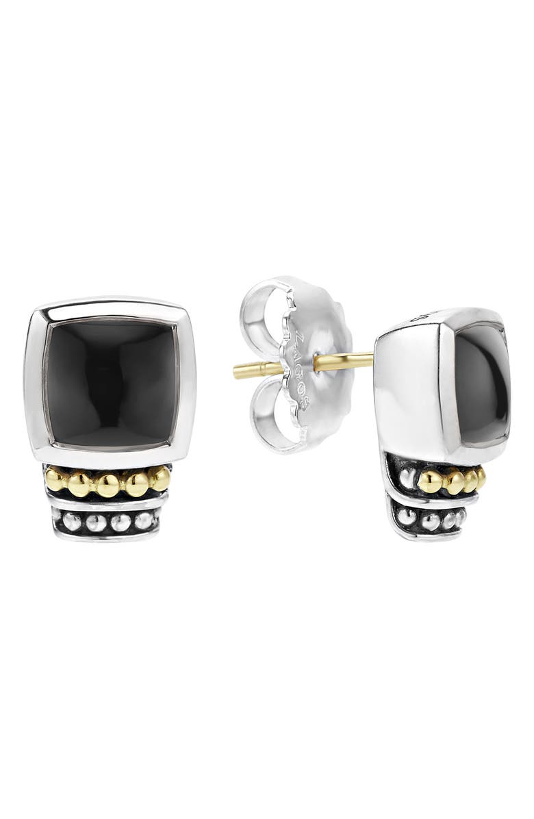 LAGOS 'Caviar Color' Semiprecious Stone Stud Earrings, Main, color, BLACK ONYX