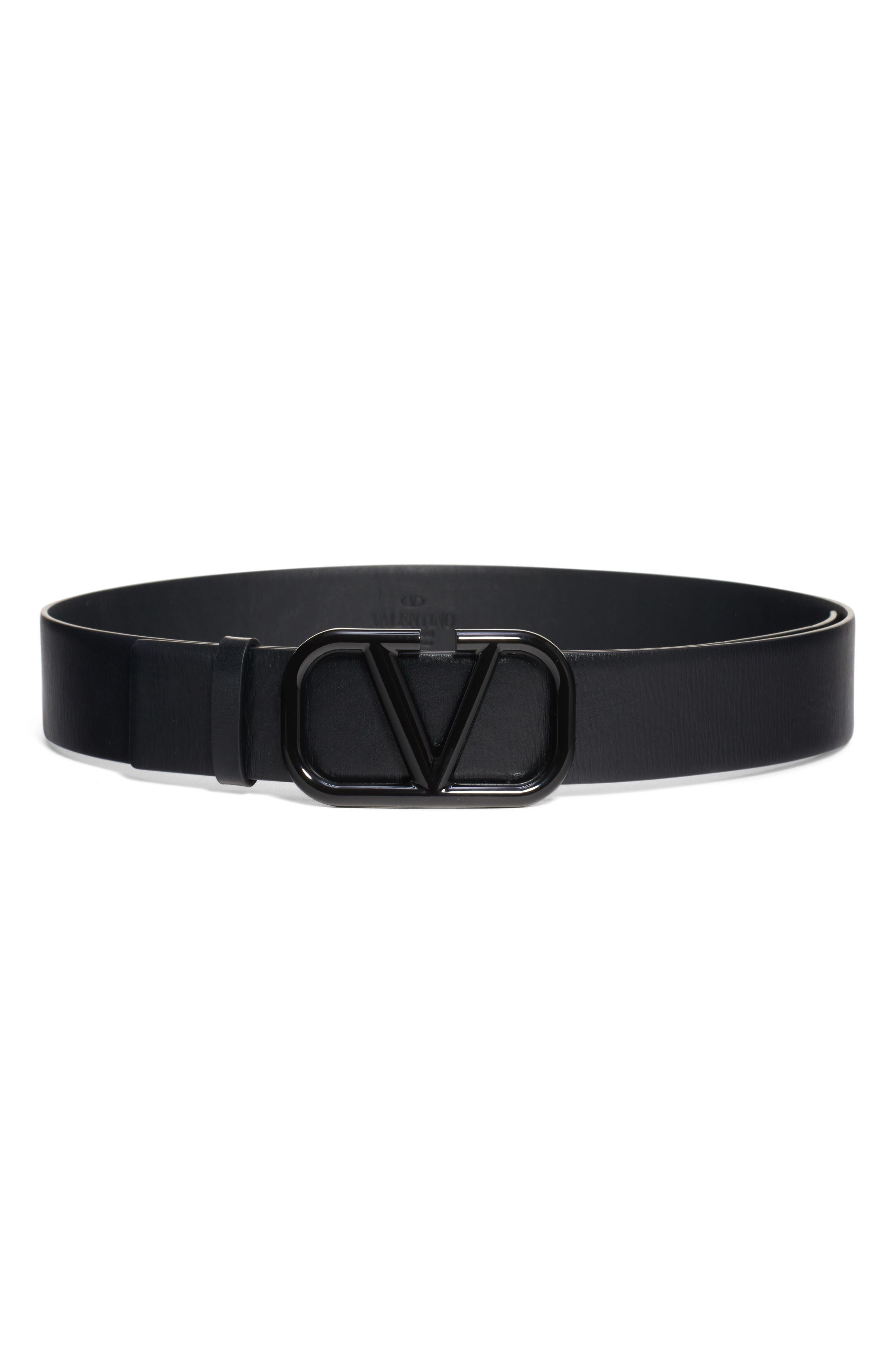 Valentino Belt V-Buckle Leather Belt