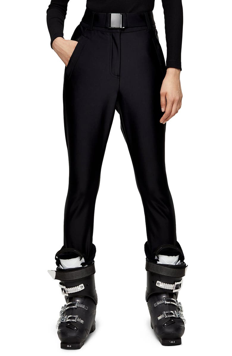 TOPSHOP SNO Disco Snow Trousers, Main, color, BLACK