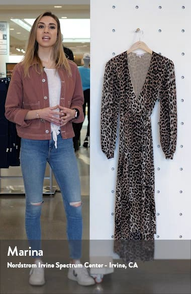 Leopard Print Mesh Long Sleeve Midi Dress, sales video thumbnail