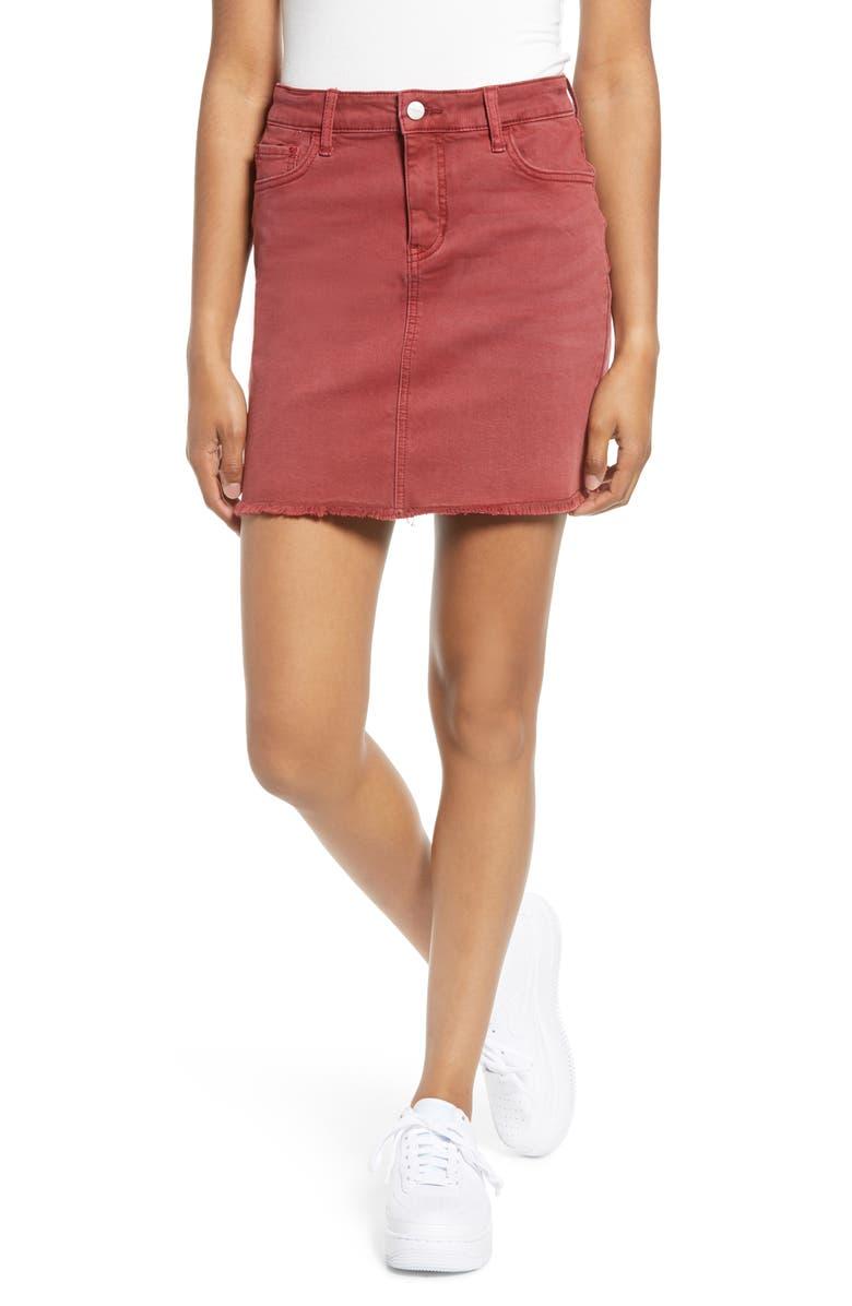MADE IN BLUE Denim Fray Hem Miniskirt, Main, color, RED PEAR