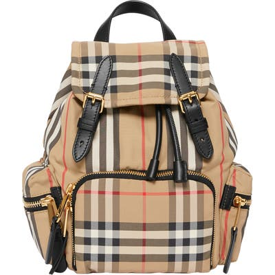 Burberry Small Vintage Check & Leather Rucksack - Beige