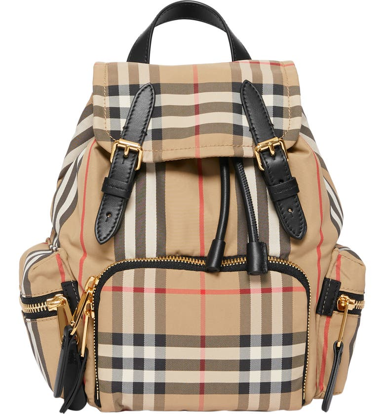 BURBERRY Small Vintage Check & Leather Rucksack, Main, color, ARCHIVE BEIGE