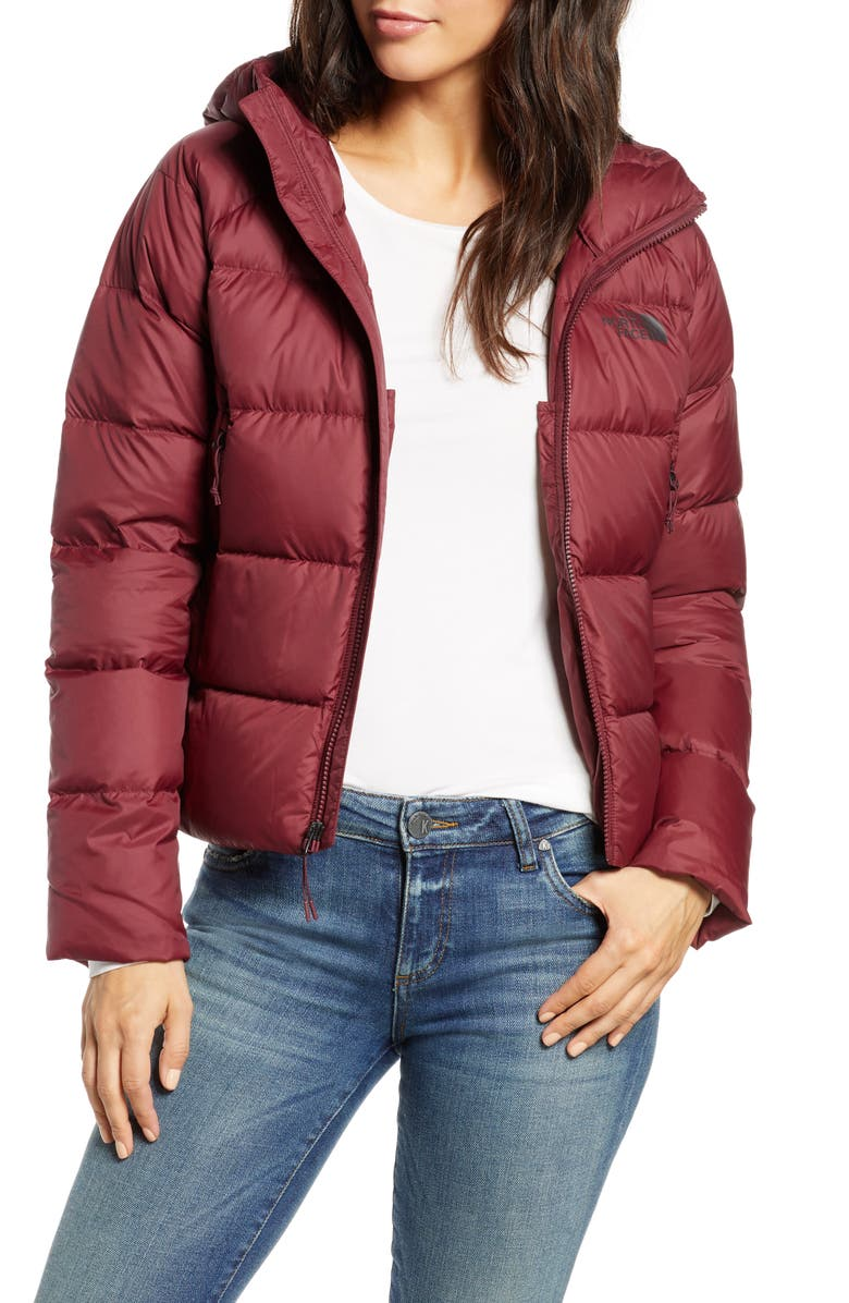 THE NORTH FACE Hyalite 550 Fill Power Down Jacket, Main, color, DEEP GARNET RED