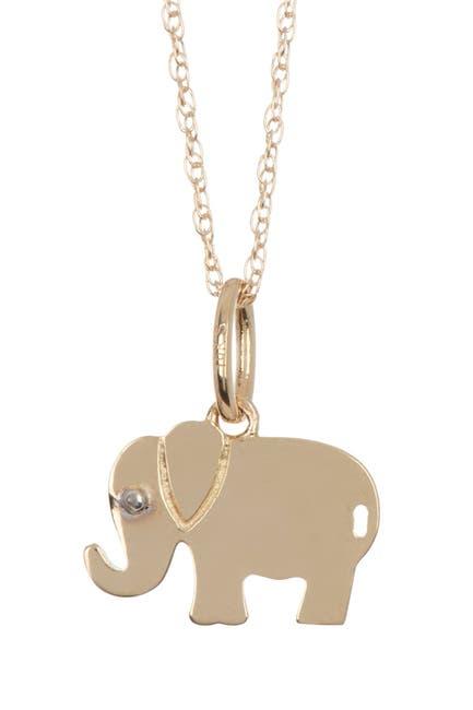 Image of Candela 10K Yellow Gold Elephant Pendant Necklace