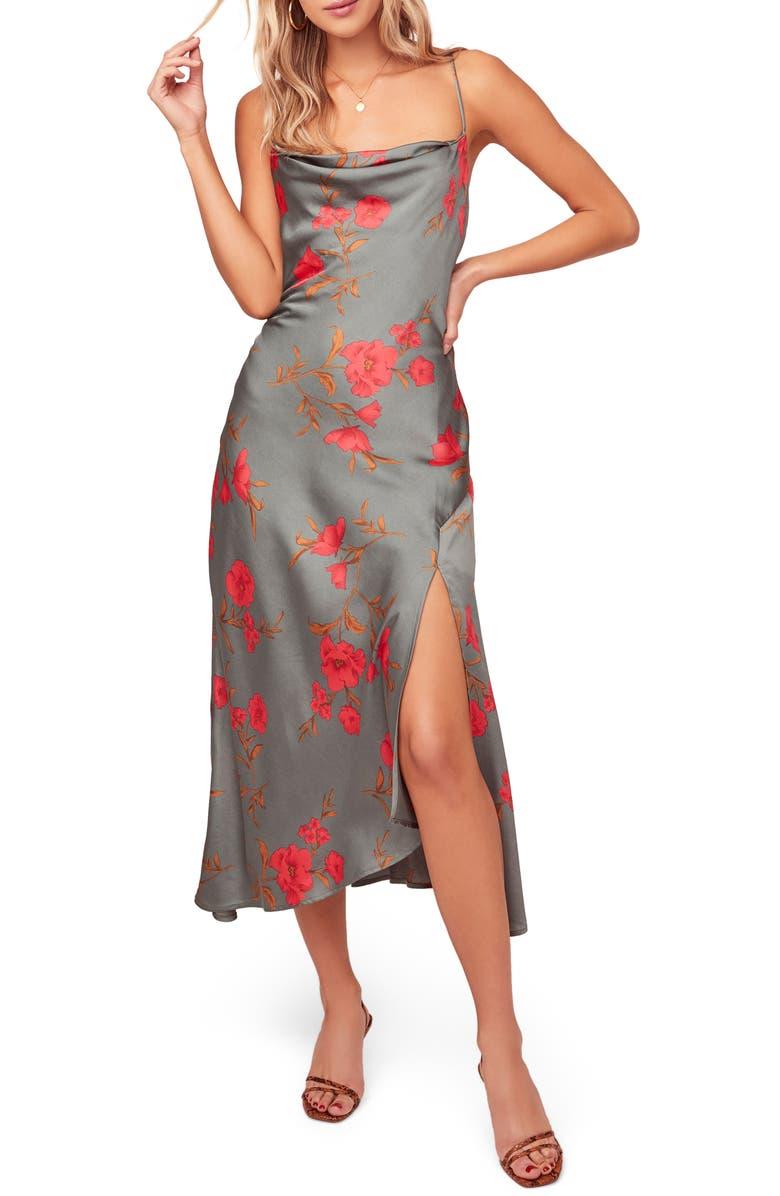 ASTR THE LABEL Gaia Strappy Bias Cut Satin Midi Dress, Main, color, TEAL-RASPBERRY FLORAL