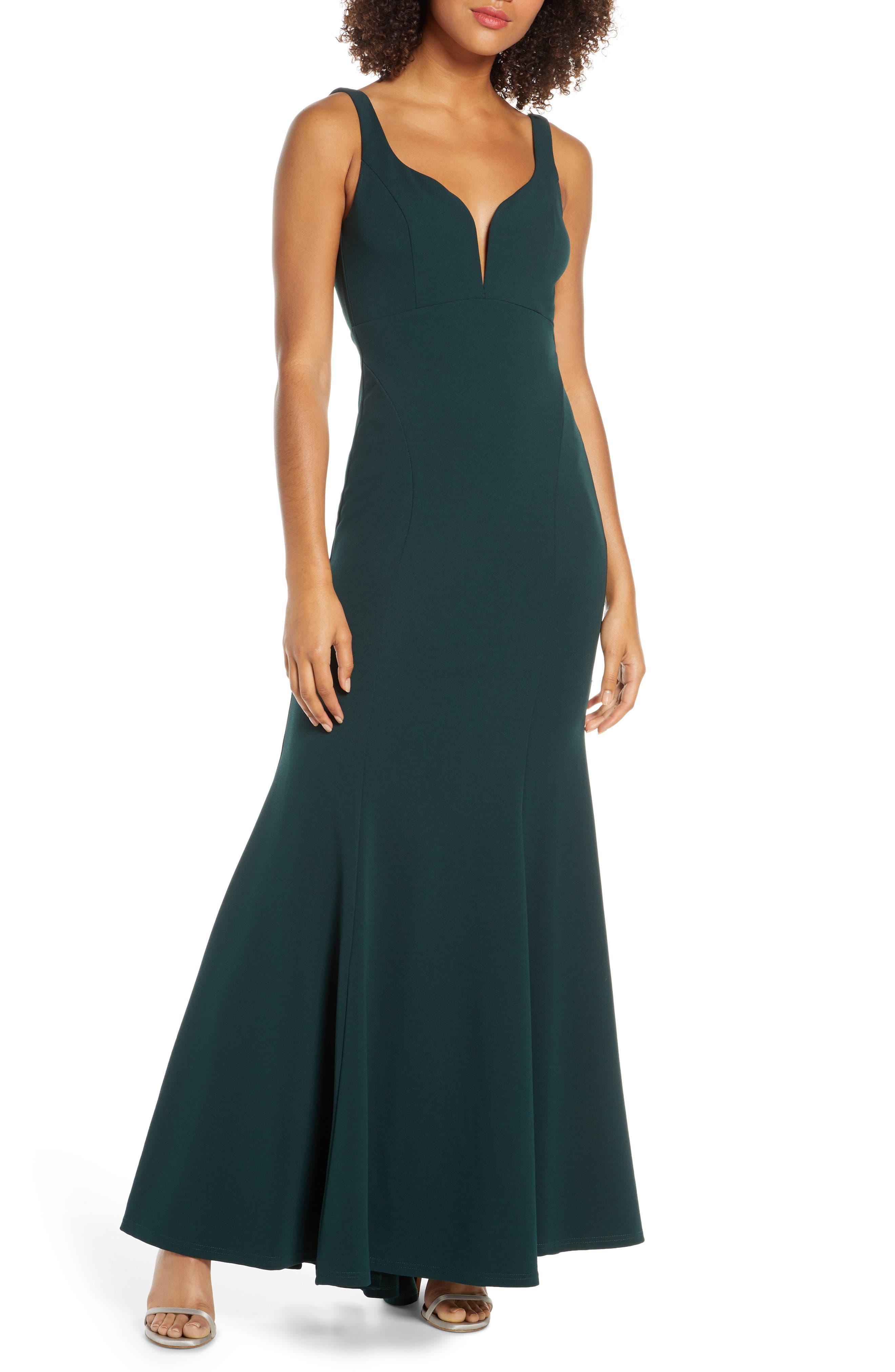 Lulus Aperitif Crepe Mermaid Gown, Green