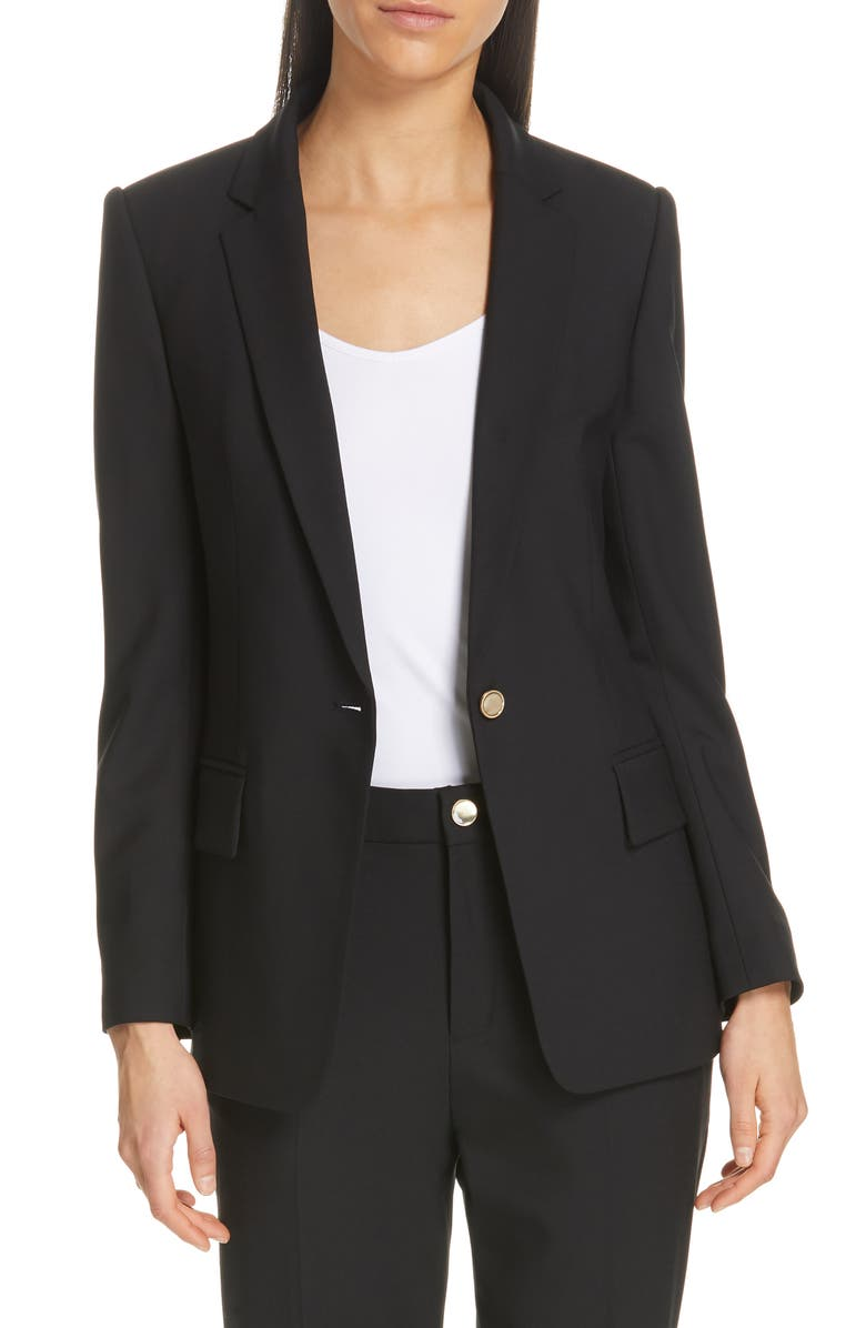 CLUB MONACO Borrem Single Button Blazer, Main, color, BLACK
