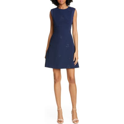 Ted Baker London Saahrad Embroidered Floral Sleeveless Shift Dress, Blue