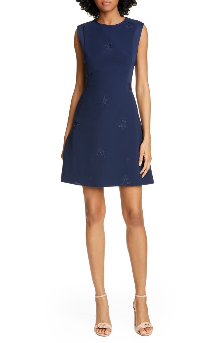 TED BAKER LONDON Saahrad Embroidered Floral Sleeveless Shift Dress, Main, color, NAVY