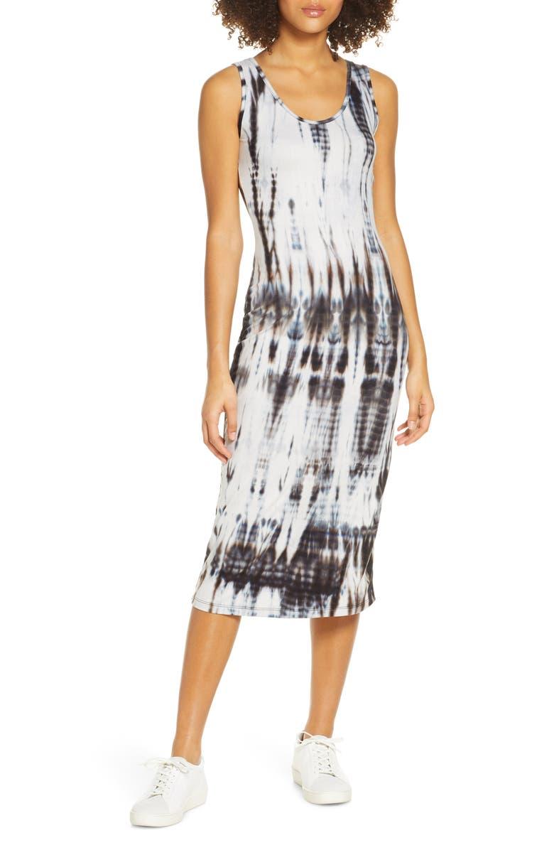 FRAICHE BY J Sleeveless Tie Dye Midi Dress, Main, color, BLACK