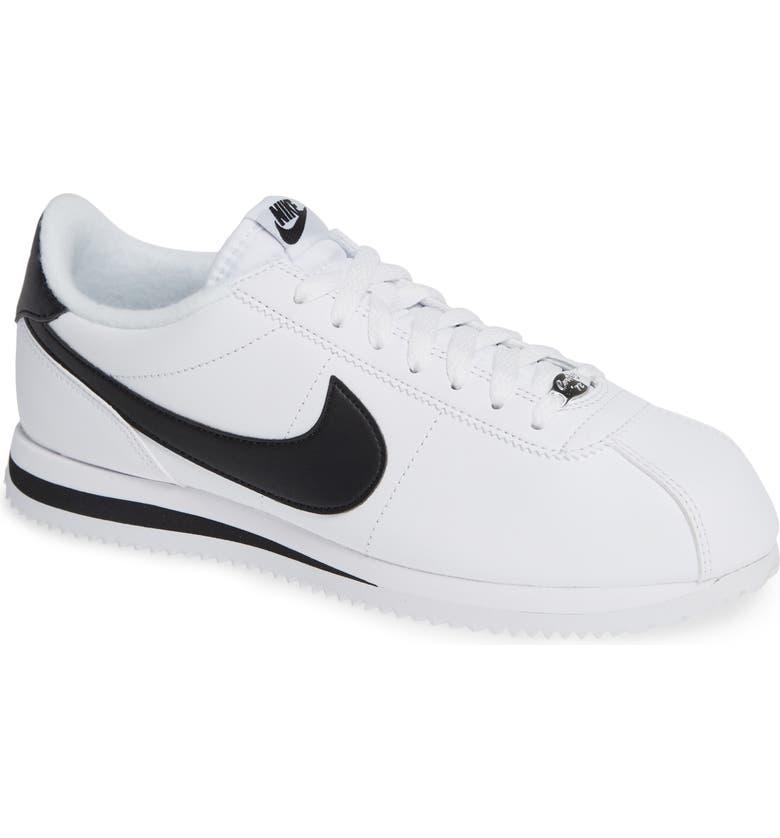 NIKE Cortez Basic Leather Sneaker, Main, color, WHITE/ BLACK/ METALLIC SILVER