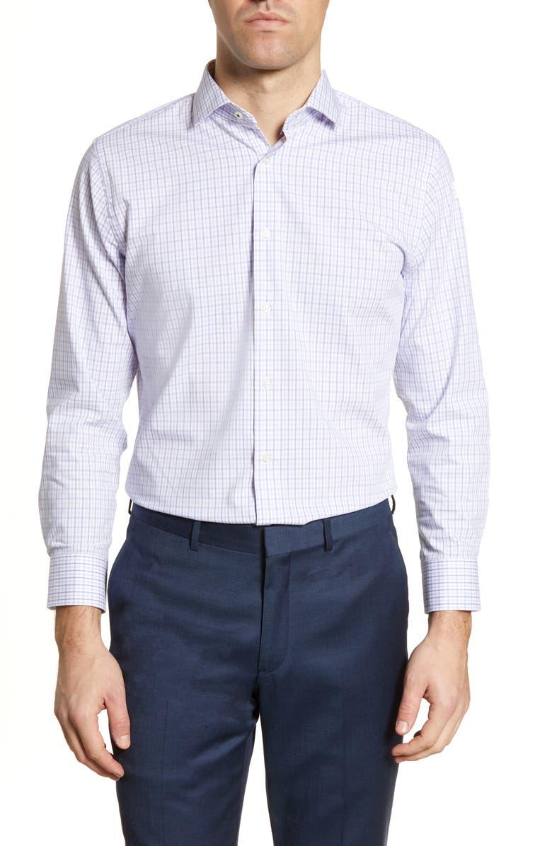 NORDSTROM MEN'S SHOP Tech-Smart Trim Fit Check Dress Shirt, Main, color, 500