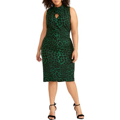 Plus Size Rachel Rachel Roy Harland Animal Print Sheath Dress, Green