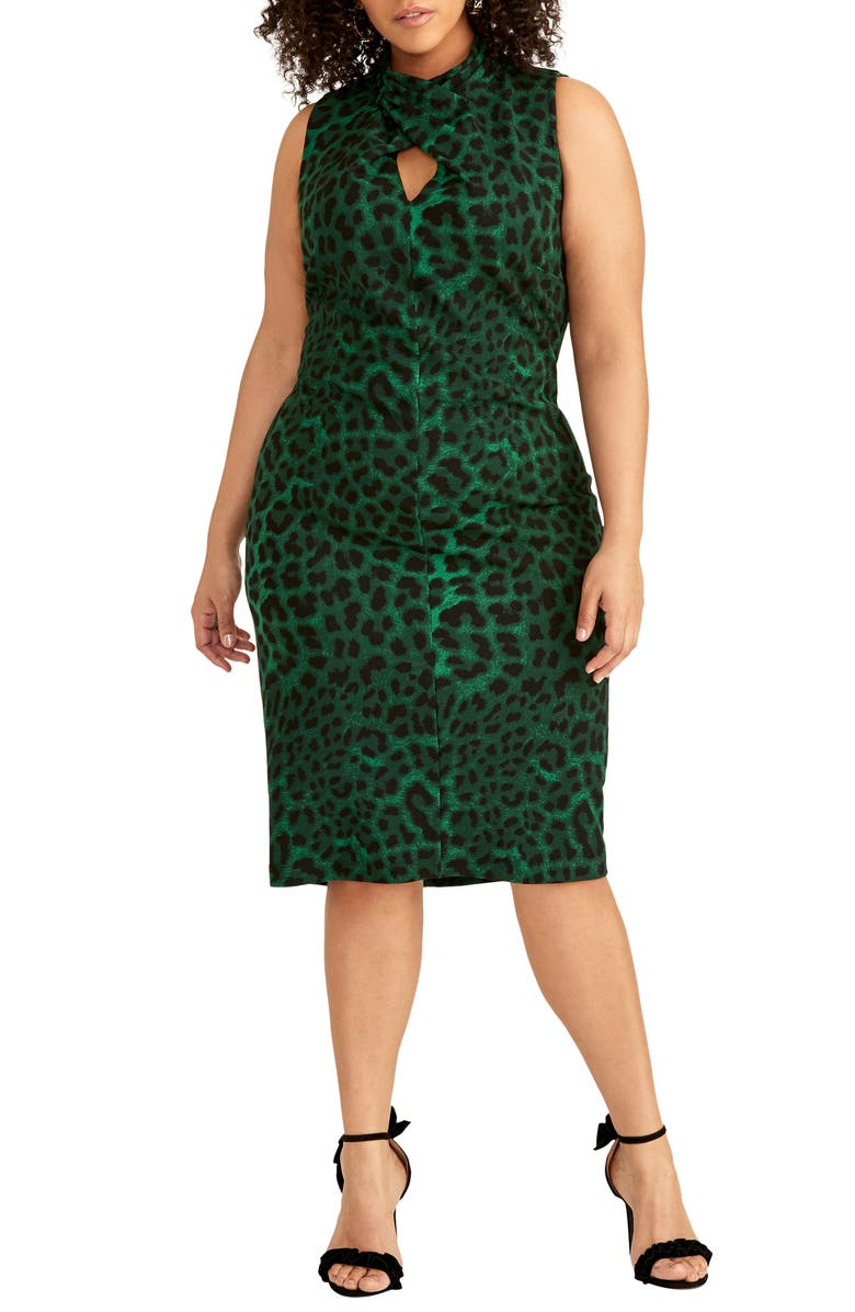 RACHEL RACHEL ROY Harland Animal Print Sheath Dress, Main, color, IVY GREEN COMBO