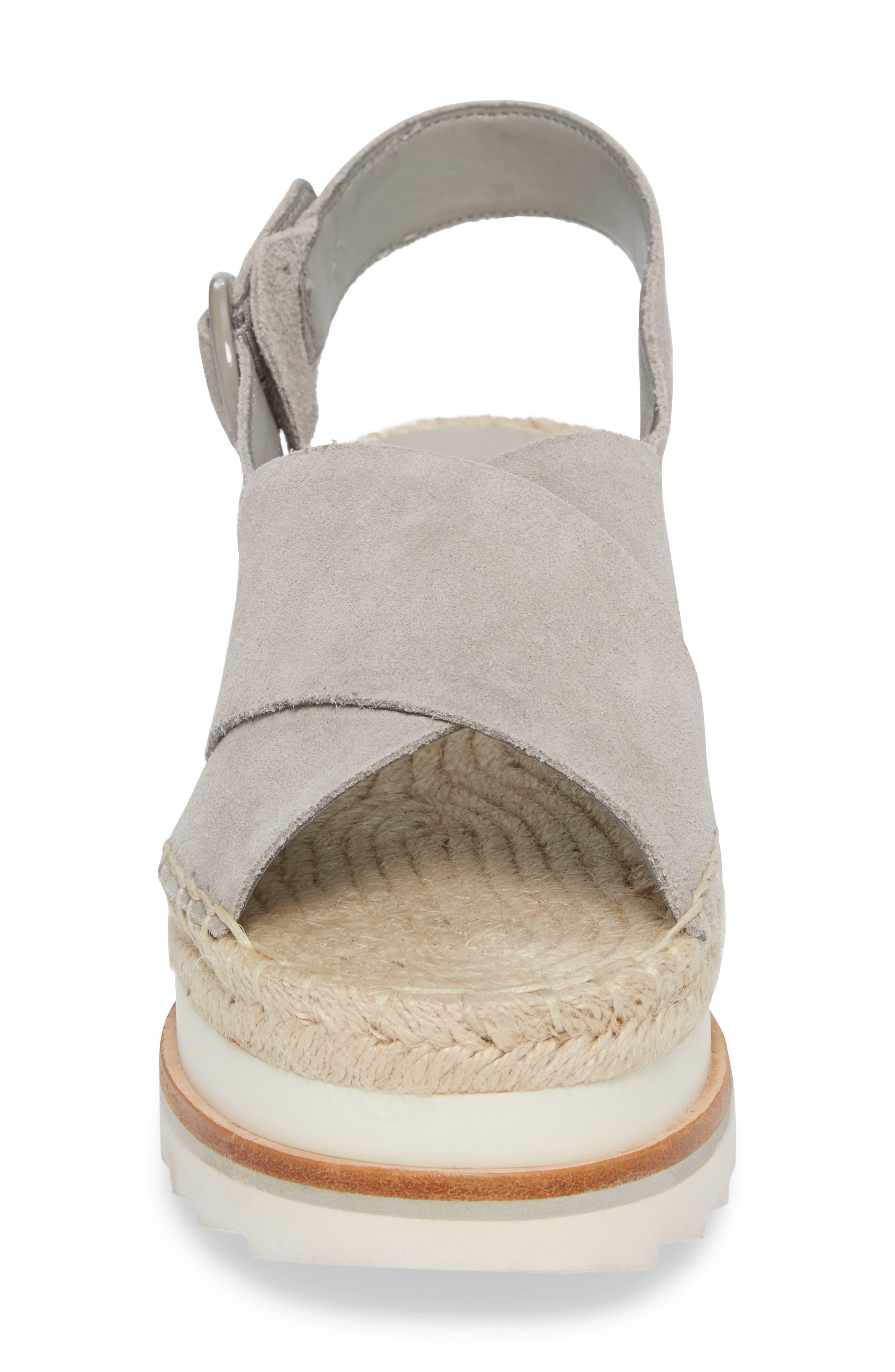,                             Glenna Platform Slingback Sandal,                             Alternate thumbnail 4, color,                             GREY SUEDE