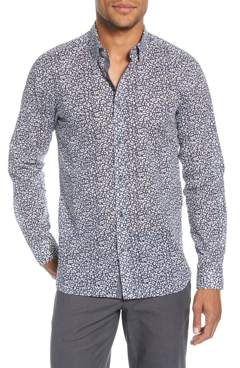TED BAKER LONDON Hazeltr Slim Fit Leaf Button-Down Shirt, Main, color, NAVY