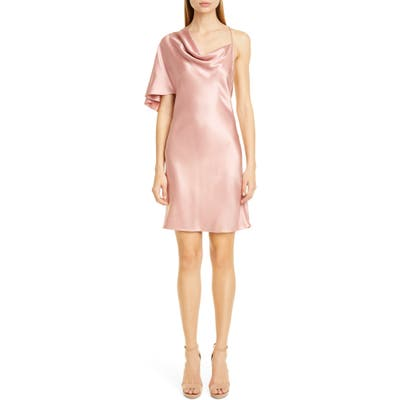 Cushnie Single Sleeve Silk Satin Minidress, Pink