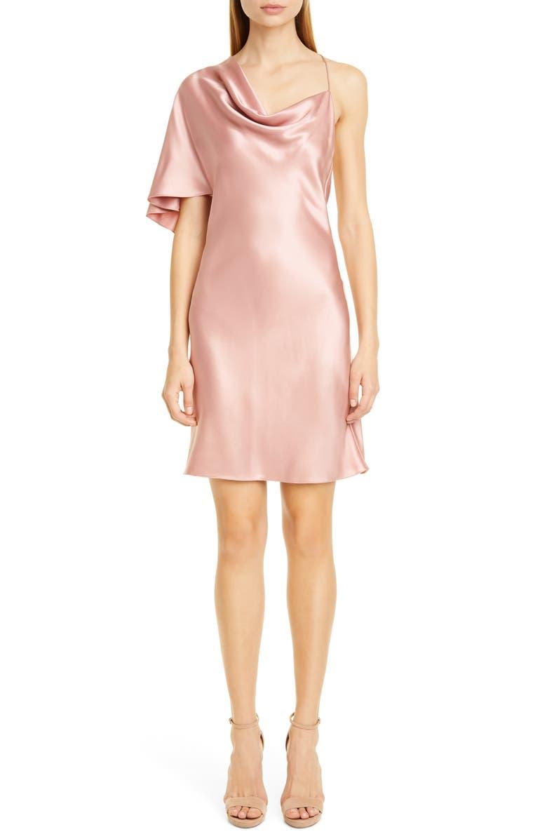 CUSHNIE Single Sleeve Silk Satin Minidress, Main, color, WOODROSE