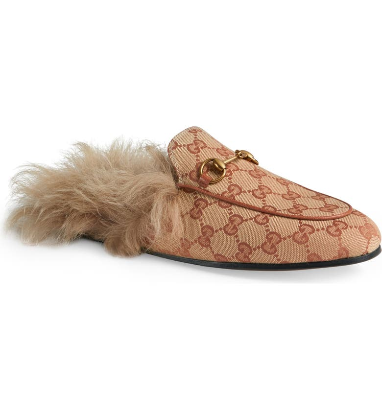 GUCCI Princetown Genuine Shearling Logo Mule, Main, color, BEIGE