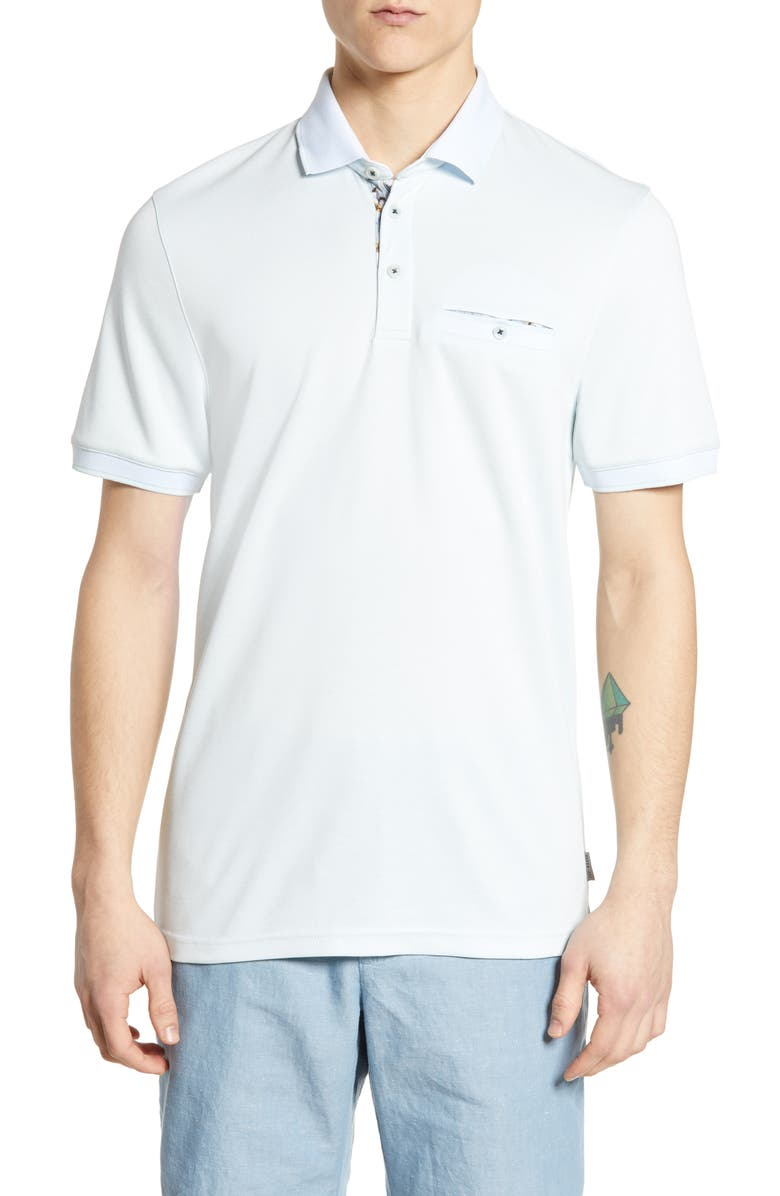 TED BAKER LONDON Frog Slim Fit Piqué Polo, Main, color, LIGHT BLUE