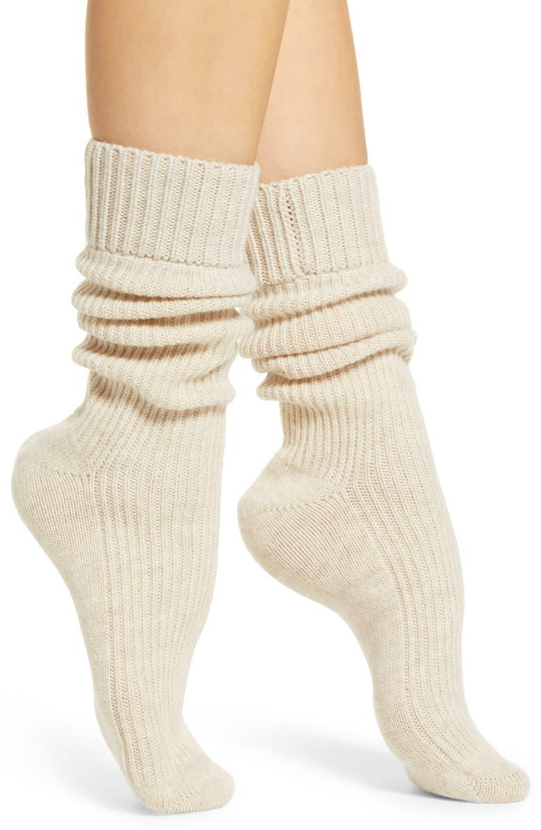 RACHEL PARCELL Slouchy Ribbed Socks, Main, color, OATMEAL HEATHER