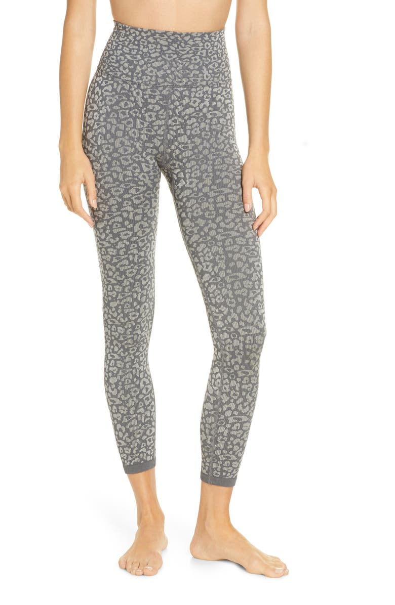 FREE PEOPLE FP MOVEMENT Om Shanti Leopard Leggings, Main, color, CARBON
