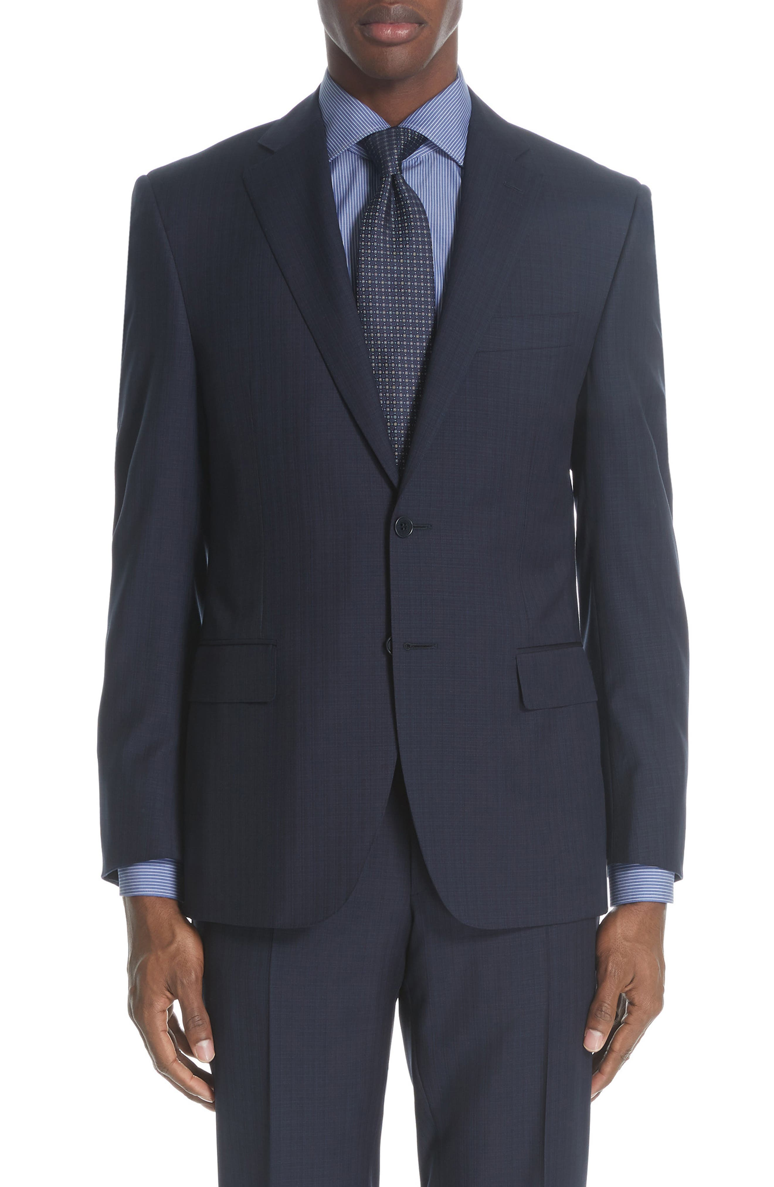 ,                             Siena Classic Fit Check Wool Suit,                             Alternate thumbnail 5, color,                             NAVY