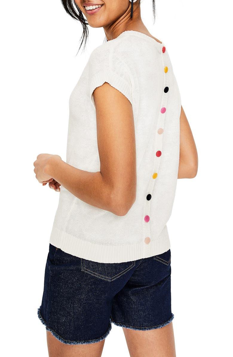Aubrey Rainbow Button Back Linen Sweater by Boden