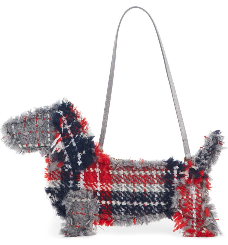 THOM BROWNE Hector Tweed Flat Clutch, Main, color, BLACK/ RED/ WHITE
