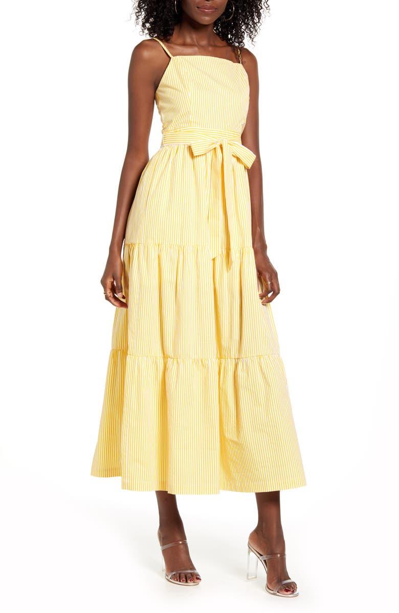 ENGLISH FACTORY Stripe Cotton Poplin Maxi Sundress, Main, color, 700