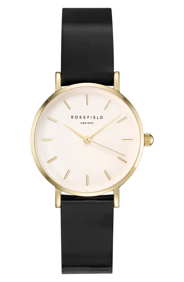 ROSEFIELD Premimum Gloss Strap Watch, 26mm, Main, color, BLACK/ WHITE/ GOLD