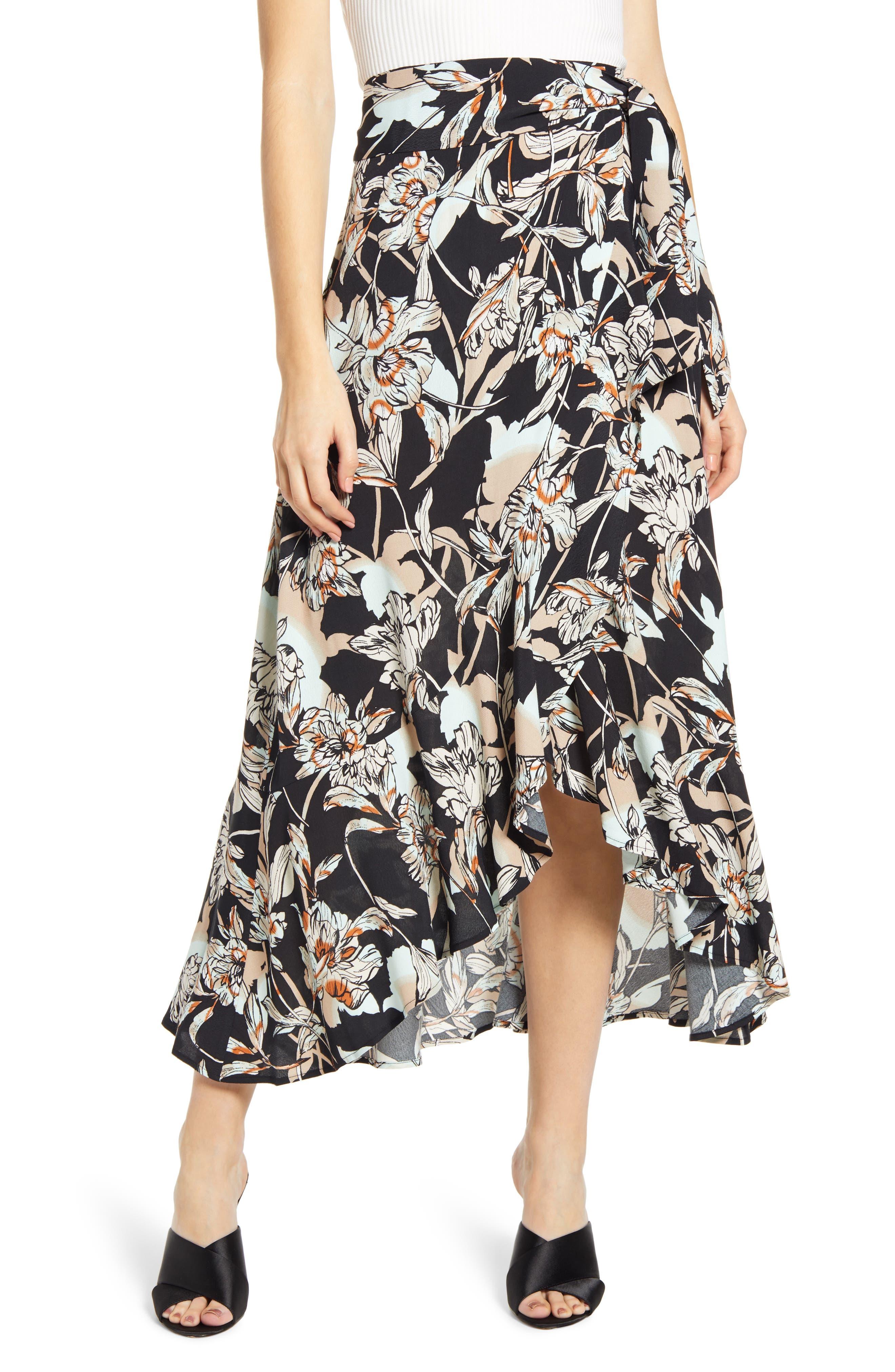 Leith Flowy Wrap Skirt, Black